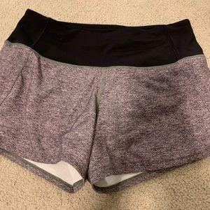 Grey and black lululemon shorts